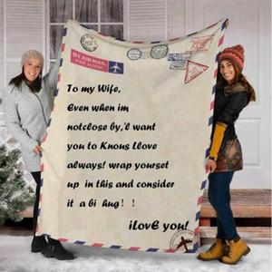 Coral in pile Blanket Message Lettera stampata Quilts Pad NAP Office Condizionatore d'aria Coperte di condizionatori Incoraggiare e Love Coperta LSK1858