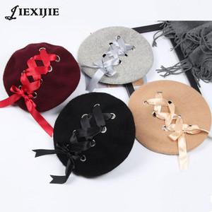 Japanese Sweet Cute women's hats Berets Female Soft Ribbon Wool Lolita Beret Vintage Straps Cross Bow Berets winter painter hat