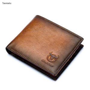 Anti-Diebstahl-Bürste Tri-Fold Herren Geldbörse Echtes Leder Kreuz kurze Brieftasche Kartenhalter Münze Geldbörsen Kleine Retro-männliche Brieftaschen