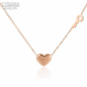 Fysara Couple Forever Love Letter Short Necklace For Women Heart Key Pendant Necklace Stainless Steel Statement Clavicles Collar jllkGc