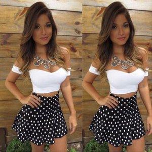 Fashion Sexy Women Summer Off shoulder Slash Neck Sheath Bodycon Casual Crop Top Two Piece Dot Short Mini Skirts Clothing Sets
