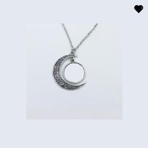 Vintage Moon Shape Colliers Sublimation Vide Creusée Pendentif Femmes Femme Chaîne Collier Fashion Charm Cadeaux 8 8hy N2