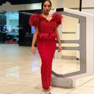 Major Pearls Beads Mermaid Evening Dresses Tiered Peplum Feather Aso Ebi Prom Dress Plus Size African Gowns robe de soirée