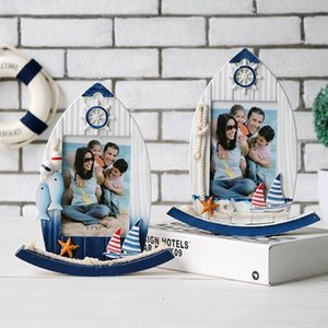Creative Vintage 5 Inch Wooden Swing Boat Shape Family Photo Frame Mediterranean Style Rudder Picture Frame Home Decor Gift