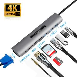 New 9 Ports USB C HUB to HDMI VGA RJ45 Gigabit Ethernet Power Adapter Dock PD Charger for Pro Air Multi Type C HUB