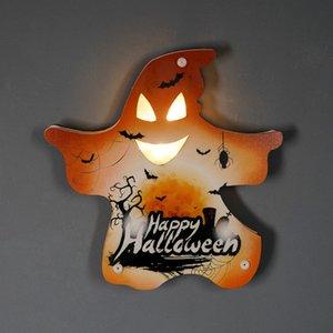 NUEVO Ambiente de Halloween Calabaza decorativa Luz Castillo Bat Cráneo del fantasma de la pared decorativos Adornos Feliz Halloween decoración de la barra DWA1097