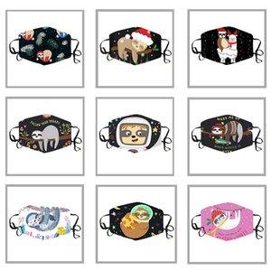 2020 Máscaras de los niños de dibujos animados de Navidad Impresión animal de la manera del oído que cuelga a prueba de polvo respirable máscara antihumo ajustable Máscara lavable