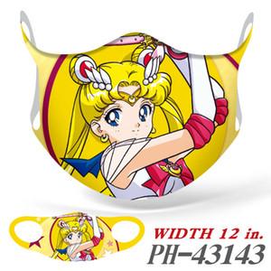 20pcs Fashion Cartoon Sailor Moon Cosplay Personalizzazione Dispolvere Impolvere respirabile Maschera riutilizzabile Lavabile a mezza faccia a bocca maschera