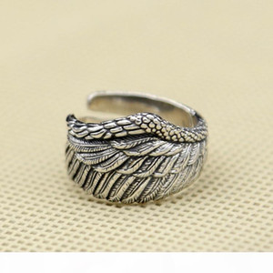 925 sterling silver fashion jewelry vintage style band ring eagle wing design open end adjustable for men and women wholesale free shipping
