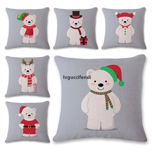 Eco-Friendly Linen Christmas Pillowcase Pillow Case Polar Bear Cartoon Sofa Cushion Cover Decoration Home Decor Gift Square Decorative Car