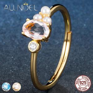 ALLNOEL Silber 925 Schmuck-Frauen Ring authentische Blautopas Rose Quartz natürliche Edelstein-Gelbgold Farbe Silber 925 Schmuck 7Psb #