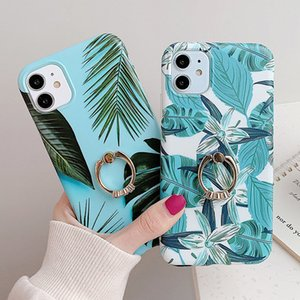 Banana Leaf Finger Ring Phone Case For iPhone 11 11 Pro Max XR XS Max X 8 7 6 6S Plus Stand Holder Back Cover For iPhone 11 Pro