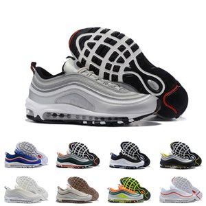 Mens Nike Air Max 97 Running Shoes Gesù Triple nero pallottola Bianco donne 97s Undefeated Trainer riflettente Bred Gioco Reale Sneakers