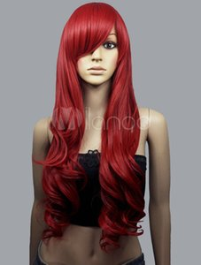 Long curly red cosplay party wig