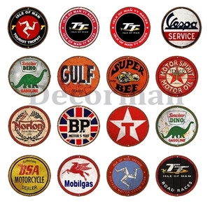 [ Decorman ] Motor oil Car Truck TT Round BSA Metal Sign Vintage BP Wall Painting Gift art Bar Decoration LTA-1719 30 CM Q1107