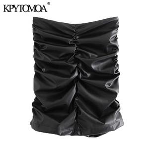 KPYTOMOA Frauen 2020 schicke Mode-Leder-Drape Minirock Weinlese-hohe Taillen-Rückseite Reißverschluss Weibliche Röcke Mujer