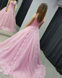Pink Quinceanera Dresses Off Shoulder Lace Prom Dresses 2021 with Beaded Applqiues Sweep Train Lace Up Formal Evening Party Gowns
