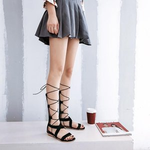 CHIMIZHAI New Women Sandals Summer Boots Flat Heels Cross-tied Sandals Woman Shoes Gladiator Sexy Big Sizes 49 50 MY104