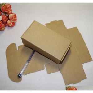 50 pz / lotto 10 taglie di colore marrone colore pieghevole regalo imballaggio kraft scatola di carta evento festa nozze caramelle cioccolato panetteria torta fai da te sapone fatto a mano S5U