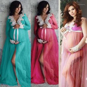 포인트 드레스 PO 슈팅 레이스 얇은 얇은 임신 드레스 첨탑 PROP 분할 프론트 임신 여성 MAXI GOWN1
