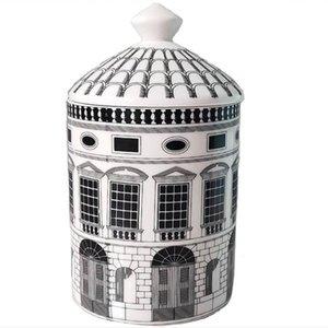 الرجعية نويشفانشتاين القلعة البيت الديكور شمعة حامل اللوحة الإبداعية أبيض أسود هندسي خطوط ديكور المنزل