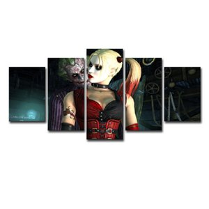 5 Panels Suicide Squad Harley Quinn Joker Movie Poster Modern Home Wall Decor Canvas Picture Art HD Print Painting Canvas Art