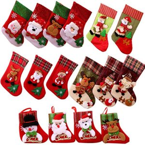 Christmas Tree Christmas Claus OWC2807 Cotton Socks Hanging Canvas Santa Decorations Stocking Gift Bag Little Shrhj