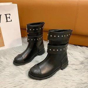 Fashion Mid-calf Boots Women PU Leather Rivet Motorcycle Boots Zipper Chunky Heels Female Shoes Short Boots 2020 Ladies Footwear