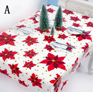 New PVC Poinsettia Christmas Table With AHD2270 Mistletoe Rectangle Wipe Year Oilcloth Cloth Plastic 1.1*1.8m Disposable Tablecloth Cle Juxf