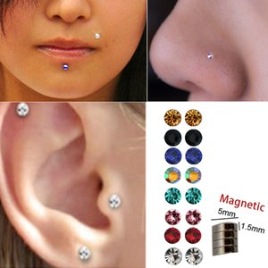 3 pairs of fake stud non piercing Ear tragus helix earring crystal magnet nose ring