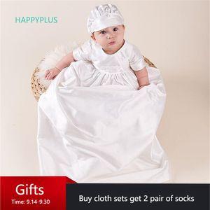 HAPPYPLUS Ivory Baby Boy Battesimo vestito pavimento-lunghezza Baby Shower Boy Battesimo vestiti infantili dei ragazzi Primo compleanno Outfit Gowns 1027