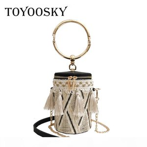 TOYOOSKY Japan Style Bucket Cylindrical Straw Bags Barrel-Shaped Woven Women Crossbody Bags Metal Handle Shoulder Tote Bag Y18102903