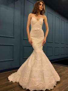 Mermaid Cheap V Neck Lace Milla Nova Wedding Dresses 2021 Beaded Satin Wedding Gowns Nigeria With Beads