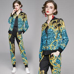 Новый конструктор Подиум женщин Спорт Два Бюстье Leopard Печатается с длинным рукавом на молнии куртки + Длинные брюки 2 шт Женские костюмы Костюмы