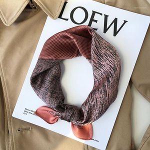 2020 Autumn 100% Silk scarf Women Fashion Luxury Small Square Neck Scarves For Ladies Neckerchief Bandana Skinny shawl 53*53 cm1