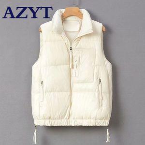 AZYT mangas Jacket 2020 New Zipper solto para baixo Cotton Vest Inverno Engrosse Quente Colete Para Mulheres