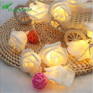 Chasanwan Año Nuevo Rose Flor artificial 1 M 10 Luz LED Batería Batería Guirnaldas LED Luces de cadena Decoraciones de Navidad para Home1