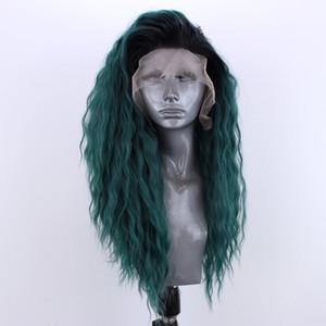 موضة جديدة أومبير الخضراء البرازيلي الجبهة الرباط كامل شعر مستعار طويل الطبيعية المياه موجة حر الباروكات الاصطناعية الشعر المقاوم