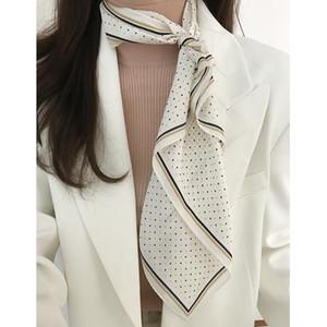 60x60cm Mouchoir classique petits points petit foulard en soie carré pour les filles cheveux Tie écharpe du cou des femmes kyqiao bandana chic