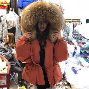 Junveny enorme guaxinim colar de pele com capuz 2020 curta fêmea feminina inverno penas para baixo casaco mulheres 90% pato de jaqueta de inverno winter parka