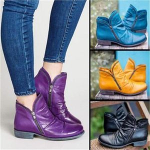 New Women Retro Boots Autumn Winter Shoes Solid PU Leather Ladies Motorcycle Boot Chunky Platform Sole Mid Calf Waterproof Shoes LY10192