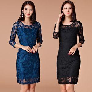 M ~ 3XL BIG SIZE Весна Осень Сексуальная Элегантный Женщины Вышивка Mesh Работа Бизнес платья Дамы Plus Большая партия короткое платье