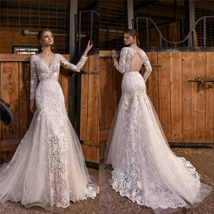 Vintage Crochet Lace Mermaid Wedding Dresses with Long Sleeve 2021 Lace Floral V-neck Open Back Fishtail Bride Dress Robes