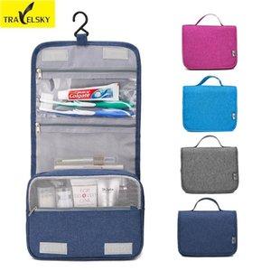 Travelsky New Hot Sale maquillage Voyage Sac femmes portable étanche Zipper Organisateur cosmétiques Hommes Trousse de toilette Hanging laver