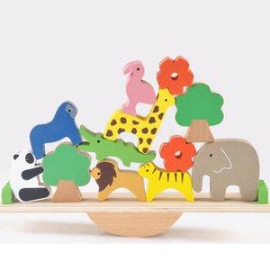 طفل اللعب لطيف الغابات الحيوان seesaw اللبنات البلوزات الخشبية اللعب الخشبية للأطفال الإبداعية تجميع ألعاب تعليمية 1020