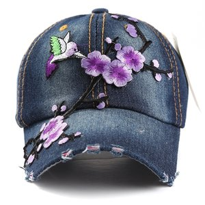 Lvtzj primavera denim vintage beisebol beisebol chapéu verão floral hip hop cap bonés para homens mulheres moedas multicolor y200714