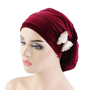 New Fashion Style Neon Casual Doppio Stretch Velvet Velvet Turban Headwrap Turban Hat Donna Gold Velvet Hijab Headwear Cappelli musulmani