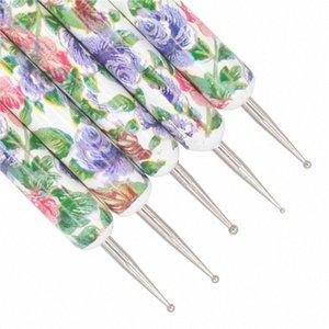 YWK 5Pcs Flower Pattern prego Dot Pintura Pen Set 2 Way Madeira Handle Nail Art pontilham ferramentas Caneta salão de beleza jogo de escova Cuidado ij5f #