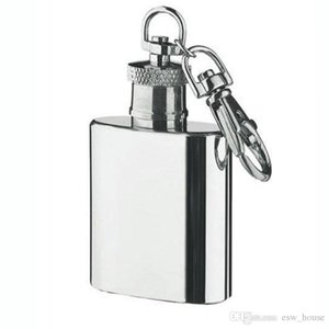 Uma onça 28ml de aço inoxidável Mini Hip Flask com Keychain portátil garrafa de vinho ao ar livre do partido com Chaveiro