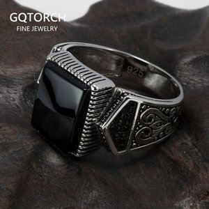 Guaranteed Mens Rings Silver s925 Antique Turkish Rings For Mens Signet Ring With Stone Color Square Turkish Jewelry Anello Uomo 201026